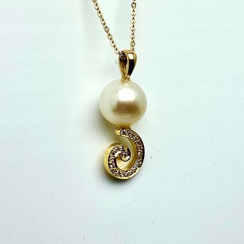 18 karat yellow gold and 14 karat yellow gold pearl and diamond pendant