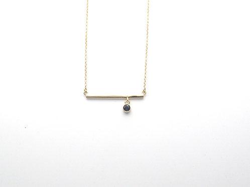 14 karat yellow gold bar drop necklace with sapphire