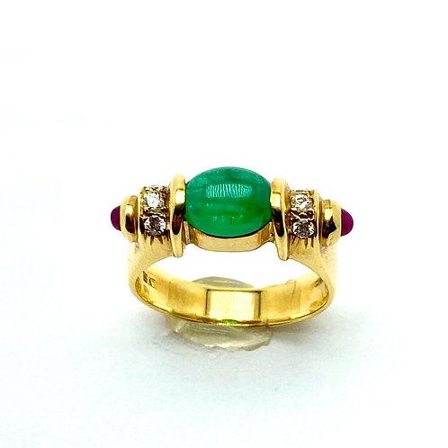 18 Karat Yellow Gold Emerald, Ruby and Diamond Ring