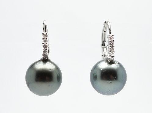18 karat white gold Tahitian pearl and diamond earrings