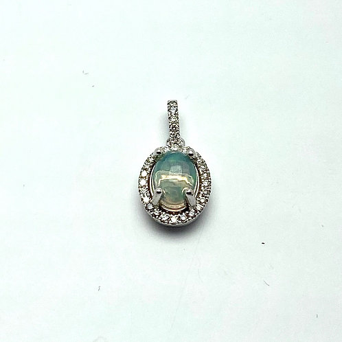 14KT White Gold Opal and Diamond Pendant
