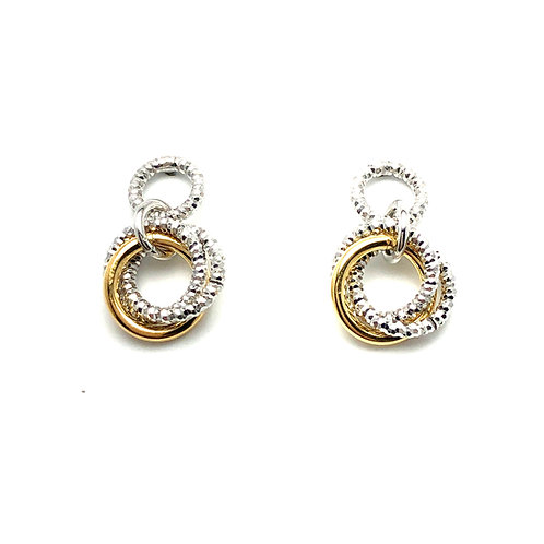 Sterling Silver and Yellow Plated Lovely Knot Earrings
