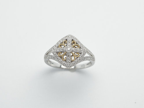 14 karat yellow gold and white gold diamond ring