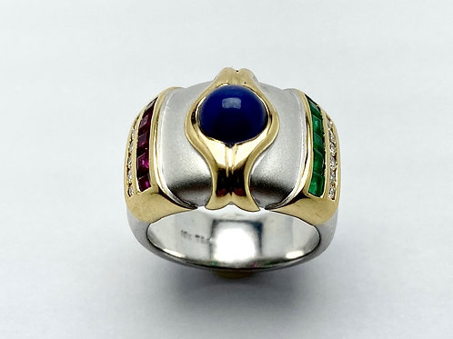 18 karat white and yellow gold sapphire, ruby, emerald and diamond ring