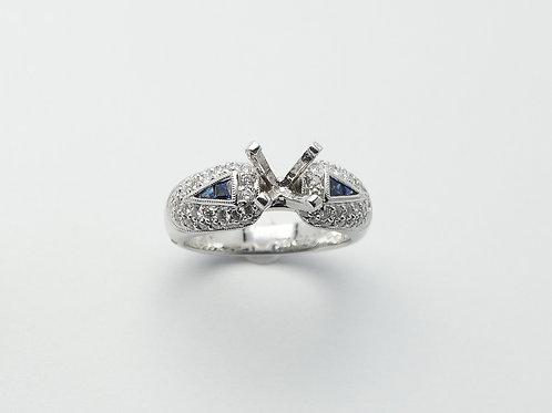 18 karat white gold semi mount sapphire and diamond engagement ring