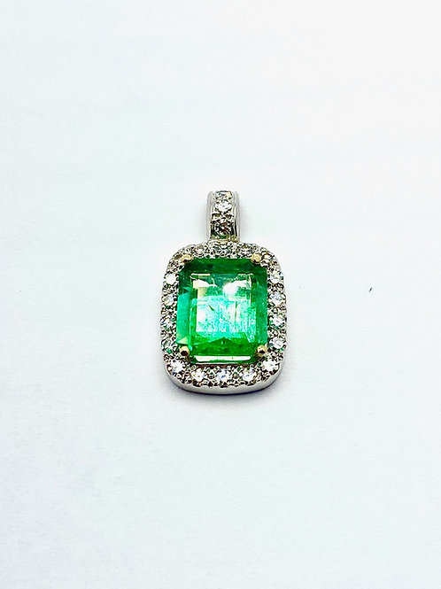 Platinum/18KW/18KY/14KY Emerald & Diamond Pendant