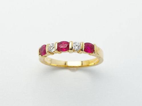 18 karat yellow gold ruby and diamond band