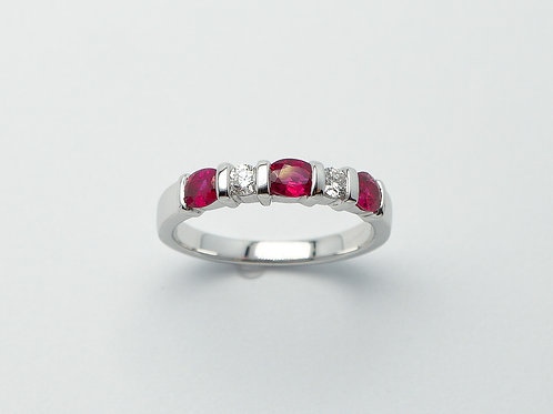 18 karat white gold ruby and diamond band