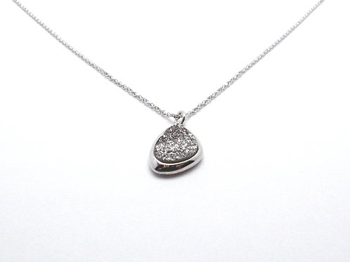 Sterling Silver and Lightning Drusy Quartz Necklace