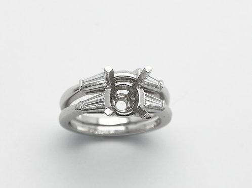 Platinum semi mount diamond engagement ring set