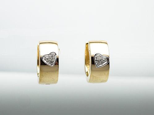 14 karat yellow gold and white gold diamond earrings