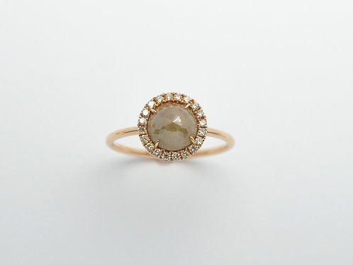 18 karat rose gold rough diamond ring