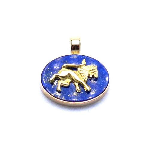 18 karat and 14 karat yellow gold lapis pendant