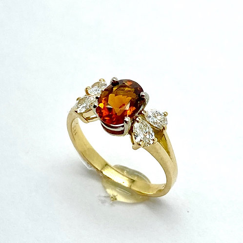 18 Karat Yellow Gold Citrine and Diamond Ring