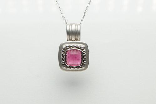 18 karat white gold pink tourmaline pendant