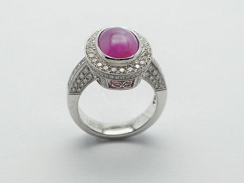18 karat white gold pink star sapphire and diamond ring