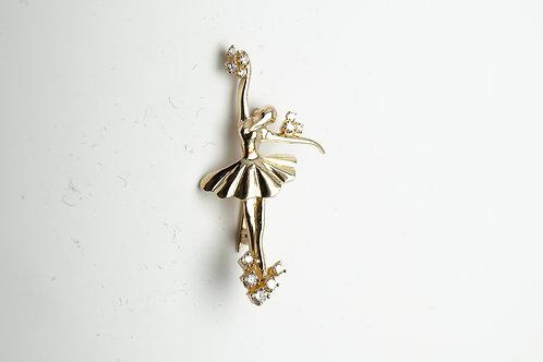 14 karat yellow gold diamond pin