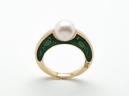 18 karat yellow gold pearl and green enamel ring