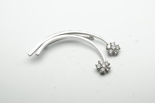 14 karat white gold diamond pin