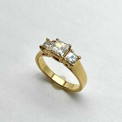 14 Karat Yellow Gold 3 Stone Diamond Ring