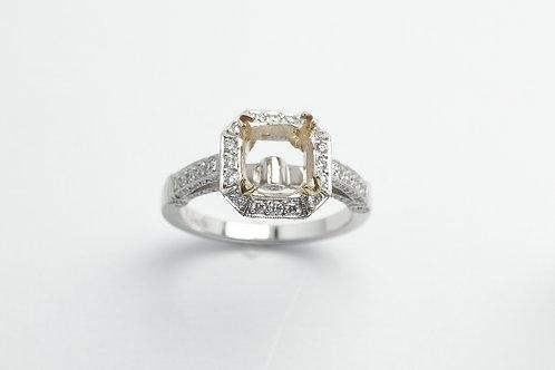 18 karat white gold and yellow gold semi mount diamond engagement ring