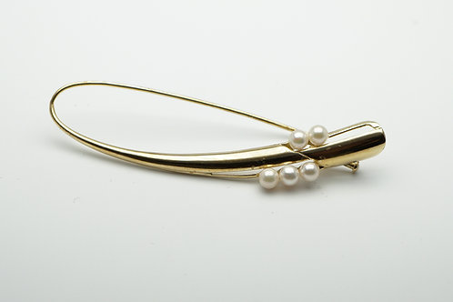 14 karat yellow gold pearl pin