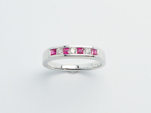18 karat white gold ruby and diamond band