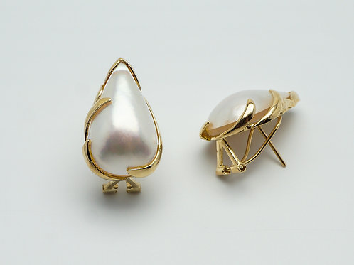 14 karat yellow gold mother of pearl earrings