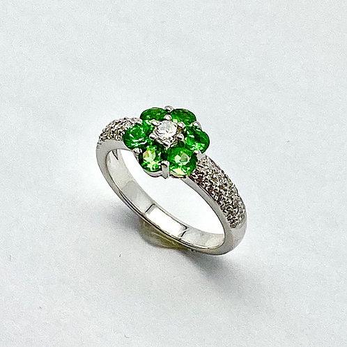 18 Karat White Gold Diamond and Garnet Ring