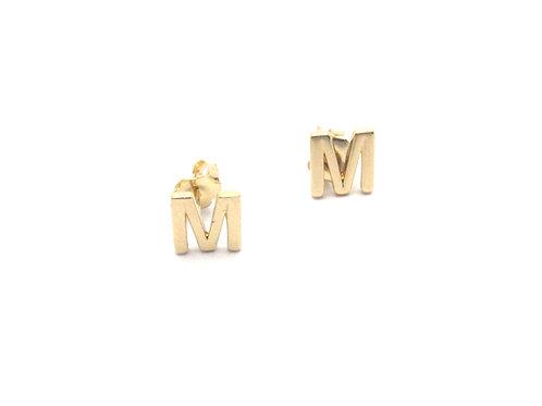 14 karat yellow gold initial earrings