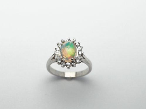 14 karat white gold opal and diamond ring