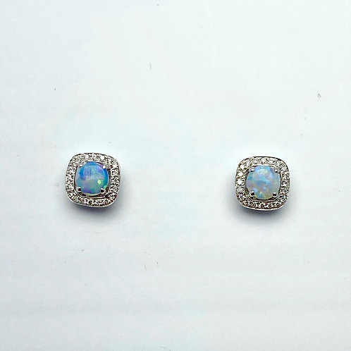 14 Karat White Gold Opal and Diamond Earrings