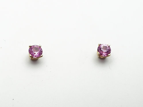 14 karat yellow gold pink sapphire earrings