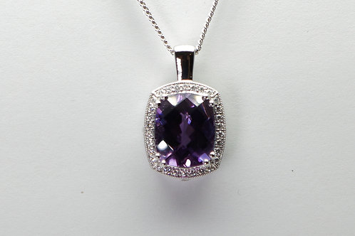 14 karat white gold amethyst and diamond pendant