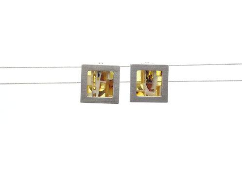 Sterling Silver Amber Mosaic Earrings
