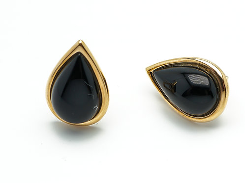 14 karat yellow gold black onyx earrings