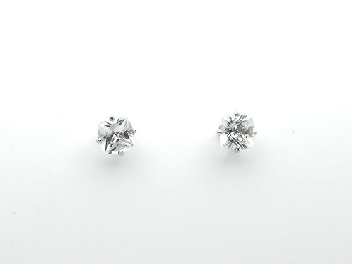 14 karat white gold white topaz earrings