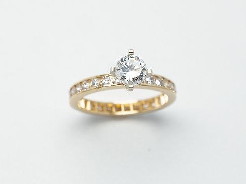 14 karat yellow gold semi mount diamond band