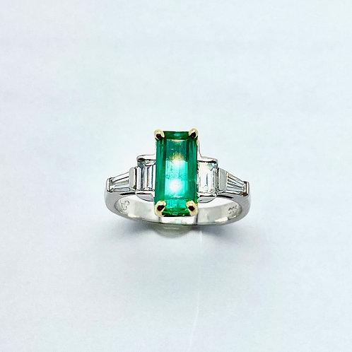 Platinum & 18 Karat Yellow Gold Emerald & Diamond Ring