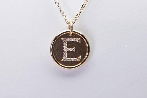 14 karat yellow gold diamond letter pendant