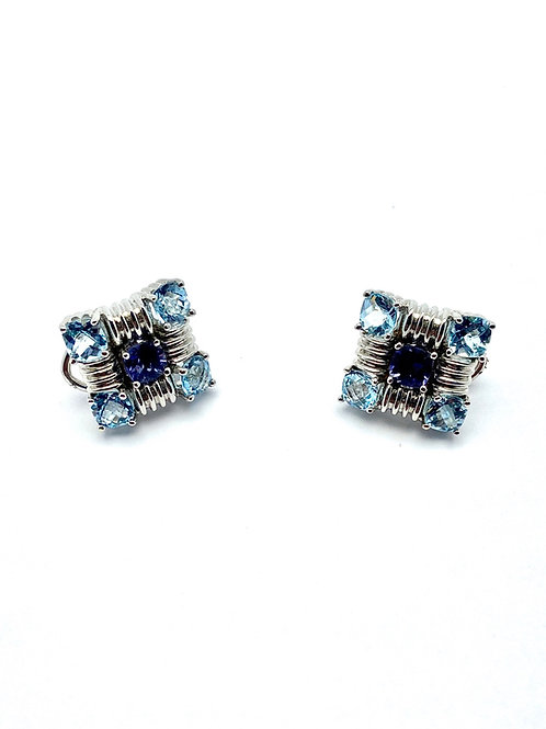 14 Karat White Gold Blue Topaz & Iolite Earrings