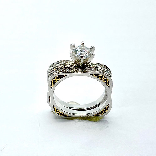 Platinum and 18 Karat Yellow Gold Diamond Semi-Mount Bridal Set