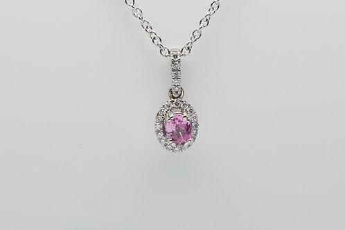 14 karat pink sapphire and diamond pendant