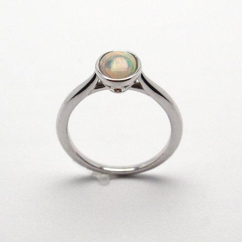 14 karat white gold opal ring