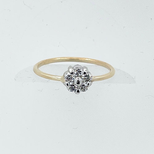 14K Two Toned Flower Cluster Ring
