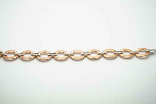 14 karat rose gold and white gold diamond bracelet
