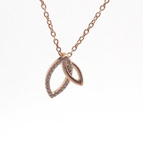 14 karat rose gold diamond leaf neckalce