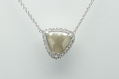 14 karat white gold rough diamond necklace