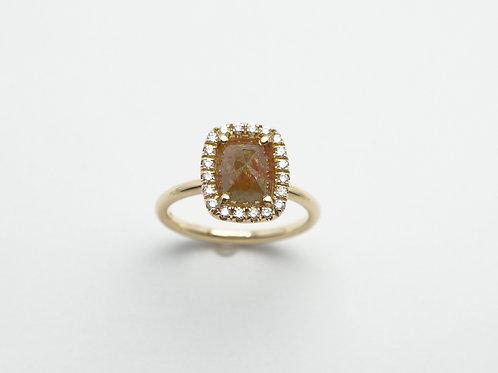14 karat white gold rough diamond ring
