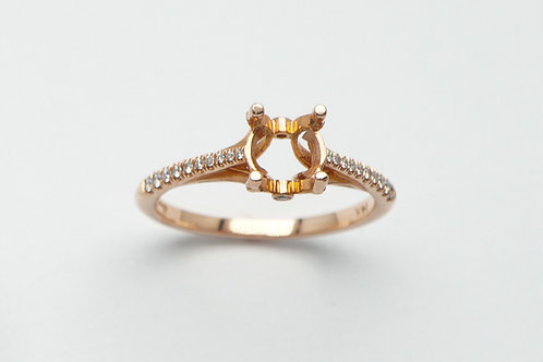 14 karat rose gold semi mount diamond ring